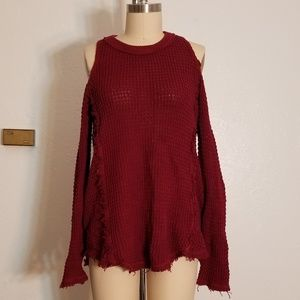Textured Knit Fray Cold Shoulder Sweater